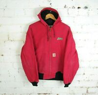 Vintage Mens CARHARTT Faded Red Thermal Lined Hooded Workwear Chore Jacket   XL
