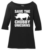 Ladies Save The Chubby Unicorns Funny Tee Scoop 3/4-Slv Tee Horse Rhino Animals