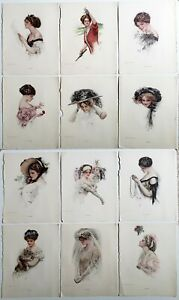 Lot of 12 Prints Book Plates of Portraits of Women by Harrison Fisher Vintage