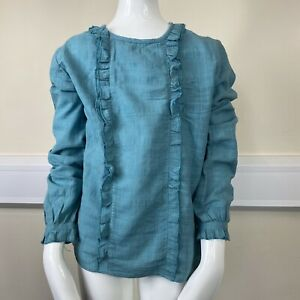 Mango Girls Green Checked Frill Front Long Sleeve Blouse Top UK Age 11-12 Years