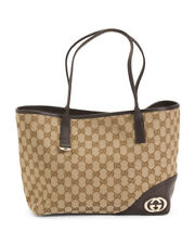 GUCCI Supreme Canvas Satchel Tan & Dark Expresso Brown Made In Italy NEW