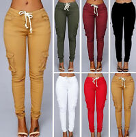 Womens Girl High Waist Casual Stretch Pants With Multiple Bags Leggings Trousers