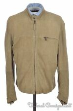 LOT 78 Solid Beige Suede Leather Motocycle Bomber Jacket Coat - EU 52 / US 42