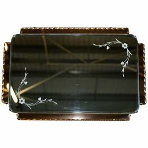LOVELY 1930'S PEACH FRENCH ART DECO VENETIAN ETCHED & ENGRAVED BEVELLED MIRROR