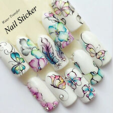 3Sheets Flower Butterfly Nail Art Water Transfer Decals Stickers Tips DIY Decor
