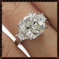 3.73 cts Cushion Cut Solitaire Diamond Engagement Ring Solid 14k White Gold