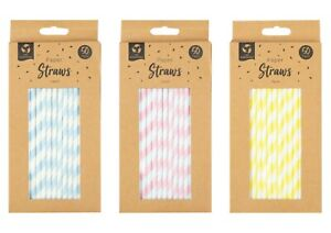 100% Biodegradable, Eco Friendly, Paper Straws Pastel, Pack of 50