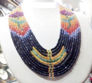 "New Rose Designer 800 Ct 11 Strand Multi Natural Sapphire Gemstone Necklace 20"""