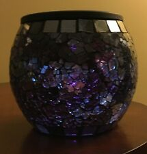 PURPLE SOLAR POWERED MOSAIC GLASS LAMP VOTIVE TEALIGHT CANDLE HOLDER*NEW IN BOX!