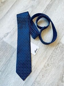 NWT Brioni Neck Tie Blue Navy Hand Made in Italy Pure Silk Luxury