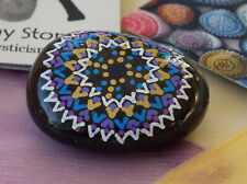 Hand Painted Alchemy Amplification Stone w. Blue, Gold, Violet & White