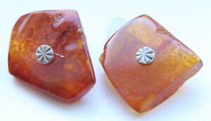 Vintage Amber Baltic Honey Cognac Cufflinks 7.3 gram 波羅的海琥珀