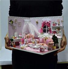 DIY Wooden Dollhouse Miniature Kit W/light / Music Box Princess Dairy Room