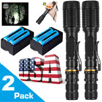 950000 Lumen Tactical Police LED Flashlight Aluminum Torch Zoomable Rechargeable