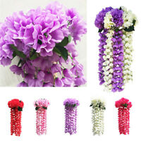 Hanging Flowers Artificial Violet Flower Wall Wisteria Basket Hanging Garland US