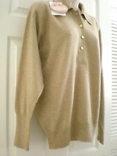 NWT CHANEL M Beige LS Vintage 100% Pure Scottish Cashmere Sweater MINT NEW