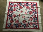 vintage+1950%27s+48+in.+square+red%2C+white+and+blue+flowered+cotton+tablecloth