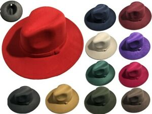 Men Women Felt Fedora Vintage Style Wide Brim Stingy Brim Hat