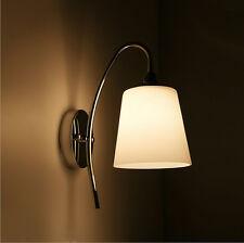 Modern Silver Milk White Glass Indoor Wall Light Lamp Lights Fittings Bedroom