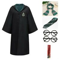 Harry Potter kids Adult Cosplay Costume Robe Cloak with Tie Scarf  Wand Glasses