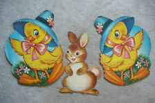 "3 Vintage 1940s Easter Die-Cut Poster Decorations - 17"" Chicks & 14"" Bunny"
