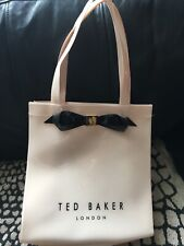 Lovely Genuine TED BAKER Small Tote Bag Plastic Bow Cream Used