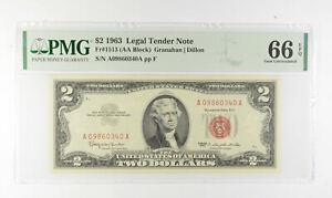 1963 $2 FR1513 (AA Block) Red Seal Graded PMG - 66 EPQ Legal Tender *814