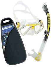 Adult Snorkeling Set Cressi Clear Yellow Penta Mask Alpha Ultra Dry Snorkel