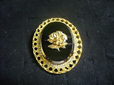 Celebrity Goldtone Metal Oval Black Glass Clear Crystal Rose Cameo Brooch Pin