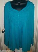 Lane Bryant NWT Womens Bluish Green Shirt Top Blouse Size 26 28