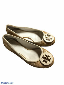 Tory Burch Reva Raffia Woven Straw Ballet Flats Tan Gold Slip-On Shoes Sz 7