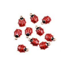 20PCs 10 Red Wine Glass Antiqued Bronze Enamel Pendant Charms C0928-5