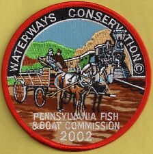 "Pa Pennsylvania Fish Commission NEW 2002 Waterways Conservation 4"" Cloth Patch"