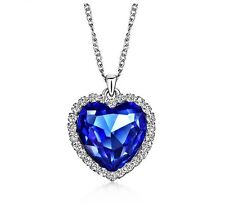 Ocean Blue Heart Necklace Made With Swarovski Crystal Pendant Women Love Gift