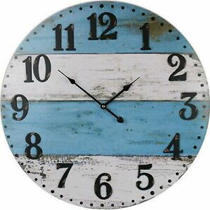 Large Round 58cm Blue and White Coastal Wall Clock