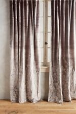 Anthropologie Floral Field Curtain Panel Velvet Embroidered