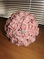 Wedding flowers package Brides Maids Buttonholes pink foam roses and diamante
