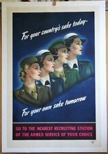 W W 2 Women in Uniform ORIGINAL *REDUCED $150 RECRUITING POSTER MOUNTED on Linen