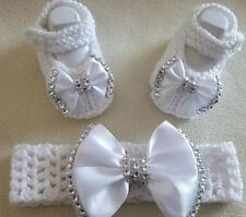 Hand Knitted Romany Bling Bébé Fille Chaussons/chaussures Crochet Bandeau. 0-3 mois