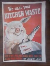 VINTAGE STYLE WWII INFORMATION PROPAGANDA POSTER - WE WANT YOUR KITCHEN WASTE