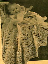 Vintage knitting pattern- sweet lace knit baby heirloom christening shawl 2 ply
