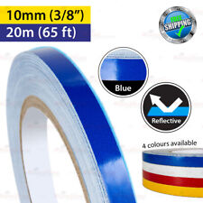 """BLUE Reflective Conspicuity PinStriping Vinyl Decal Tape 10mm 3/8"""" 20m 65ft"""
