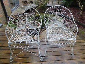 Edwardian wirework garden chairs