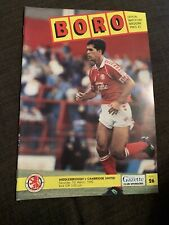 1992 Middlesbrough V Cambridge United Football Programme