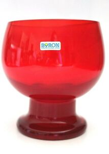 Beautiful Retro Red Glass Art Glass Vase Or Chalice By BYRON HIROTA