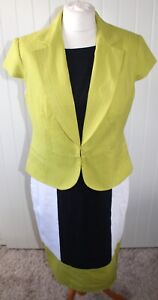 Quality Fully Lined Two-Piece Dress & Jacket Suit - Size M UK 14