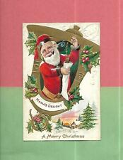 SANTA HOLDS STOCKING Colorful Vintage Unused CHRISTMAS Postcard--MAMA'S DELIGHT!