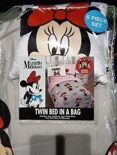 Girls Disney Minnie Mouse 5 Piece Twin Bedding Set Comforter Sheets