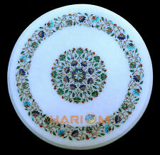 16'' Round Marble Corner Table Top Fine Multi Floral Stone Inlay Arts Decor W290