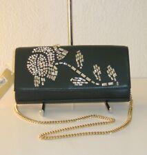 Michael Kors Bellamie Racing Green Embellished Leather Clutch Chain Bag $278